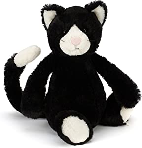 Jellycat Bashful Black and White Cat Stuffed Animal, Medium, 12 inches