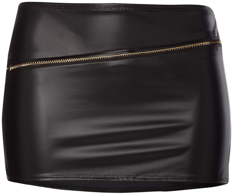 Second Skin 52065 Sizzling Zipper Mini Falda-Negro, Talla única ...