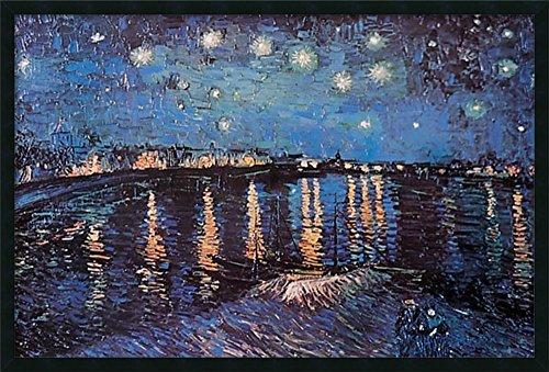 Rhone Art Framed (Framed Art Print, Starlight Over the Rhone' by Vincent van Gogh: Outer Size 37 x 25)