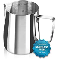 Santo Espresso Steaming Pitcher 12 oz, Espresso Milk Frothing Pitcher 12 oz, Coffee Milk Frothing Cup, Coffee Steaming Pitcher 12 oz/350 ml