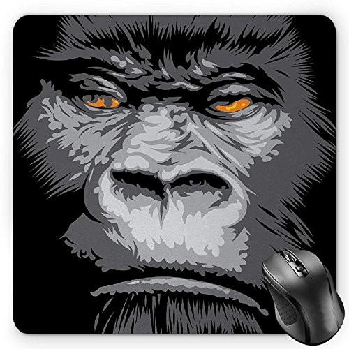 BGLKCS Modern Mouse Pad, Close up Gorilla Portrait with Orange Eyes Zoo Jungle Animal Wild Money Graphic, Standard Size Rectangle Non-Slip Rubber Mousepad, Grey Marigold