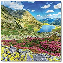 Mountain Bandana by Lunarable, Panoramic View of Icelandic Peaks with Spring Blooms Sky and Tarn Habitat Concept, Printed Unisex Bandana Head and Neck Tie Scarf Headband, 22 X 22 Inches, Multicolor