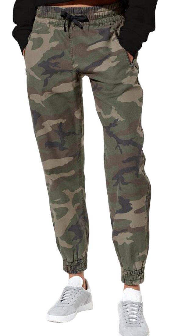 SYTX Womens Elastic Waist Camo Haren Pants Casual Trousers 1 XL