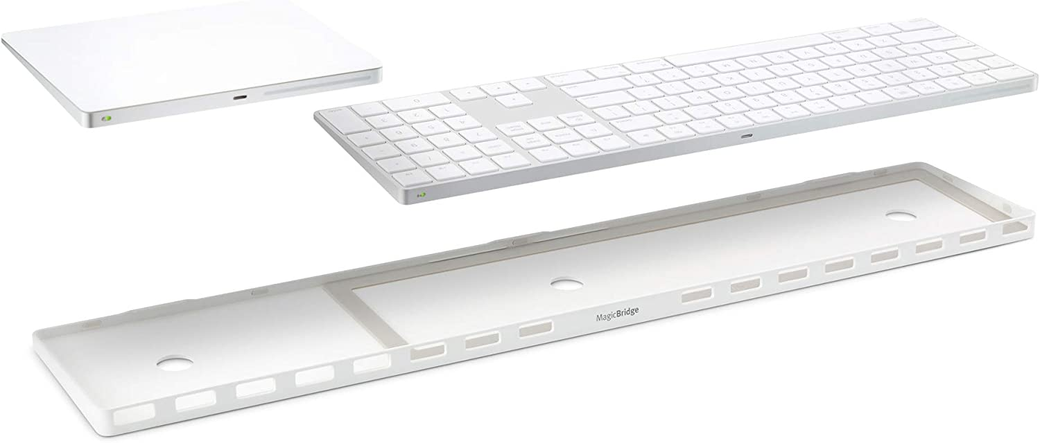 Twelve South MagicBridge Extended   Connects Apple Magic Trackpad 2 to Apple Magic Keyboard with Numeric Keypad - Trackpad and Keyboard not Included (White)