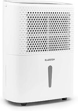 Klarstein DryFy 10 Deshumidificador de Aire - Secado de ambientes Secos, 10 L/día, Humedad programable, 240 W, 10-12 m², Silencioso, Depósito: 1,8 L, Filtro, Blanco: Amazon.es: Hogar