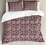 Ambesonne Abstract Queen Size Duvet Cover Set, Blooming Flowers and Ballerina Silhouettes Dance Figures with Petals, Decorative 3 Piece Bedding Set with 2 Pillow Shams, Rose Black Dried Rose