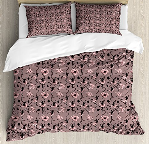 Ambesonne Abstract Queen Size Duvet Cover Set, Blooming Flowers and Ballerina Silhouettes Dance Figures with Petals, Decorative 3 Piece Bedding Set with 2 Pillow Shams, Rose Black Dried Rose by Ambesonne