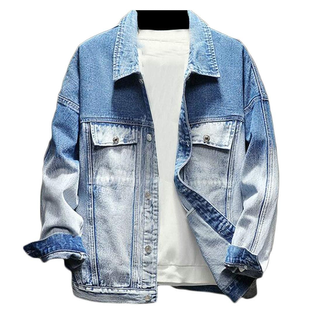 Etecredpow Men Stylish Button Front Motorcycle Ombre Faded Jean Denim Jacket Coat