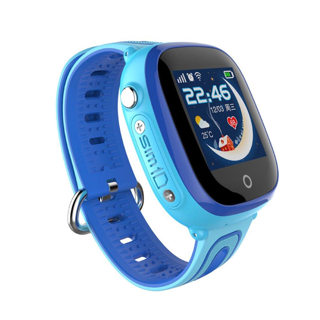 PINCHU IP67 Waterproof Smart Safe GPS LBS Location Touch Screen SOS Call Wristwatch Kid Child,Blue