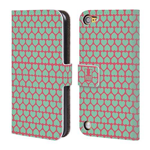 Head Case Designs Rosa Bg Celeste Pattern A Cuore Cover a portafoglio in pelle per iPod Touch 5th Gen / 6th Gen