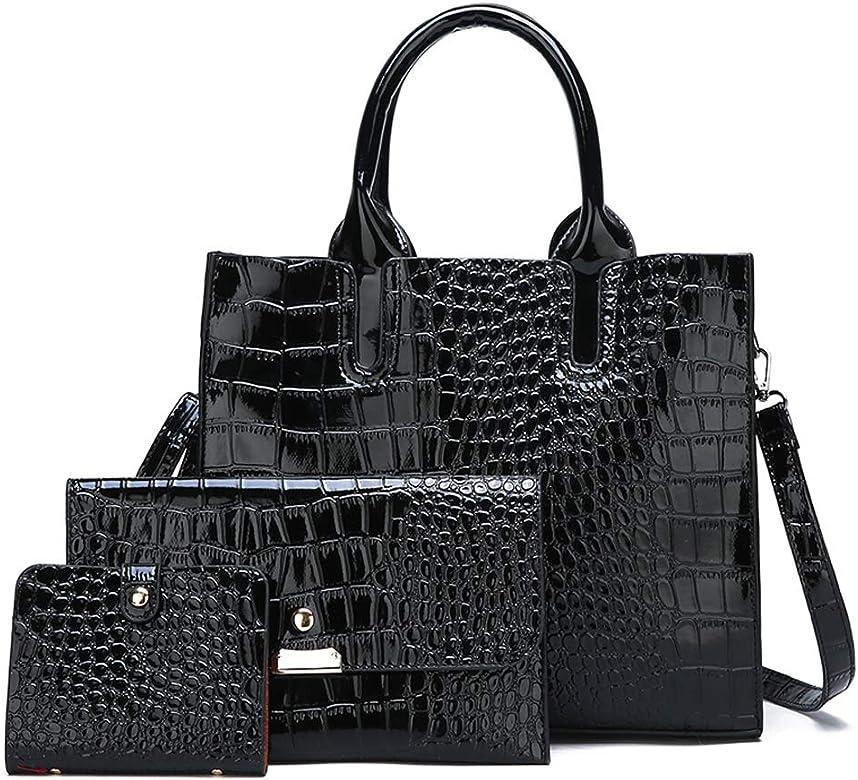Amazon.com: Bolsas y bolsos para mujer, bolsa de piel, 3 ...