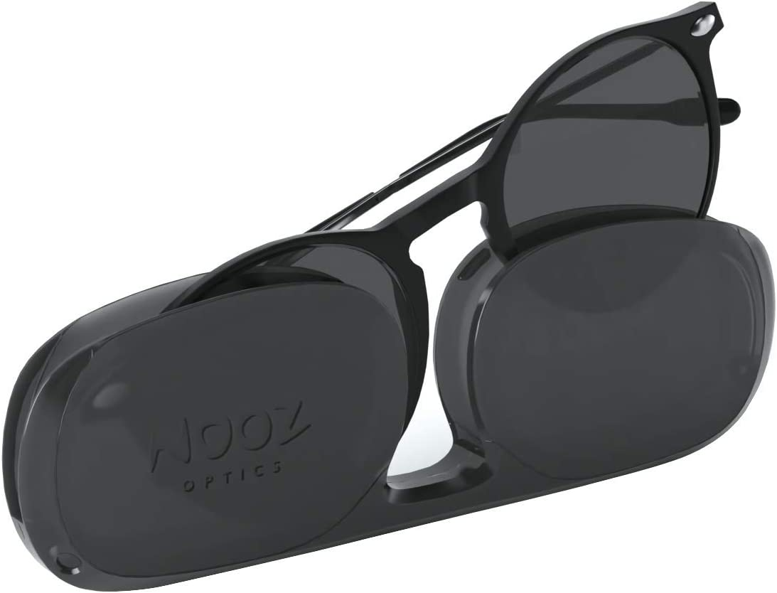 NOOZ Gafas de sol para leer para Hombre y Mujer Color Negro +2,00 con Funda ultraplana - Protección UV de categoría 3 - colección CRUZ