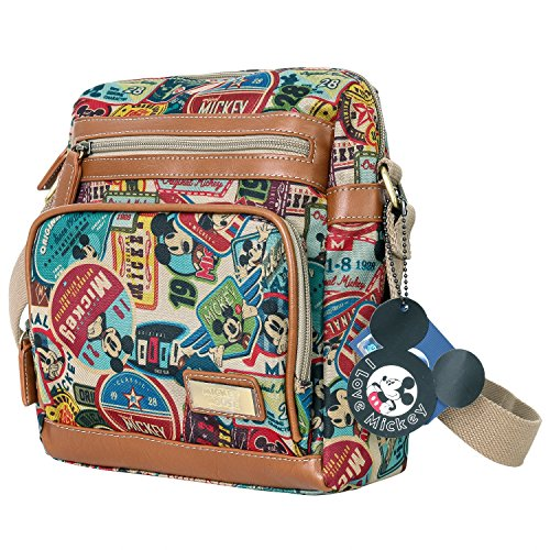 Disney Vintage Mickey Mouse Pattern Multi Purpose Cross Body Bag , Brown Disney Messenger