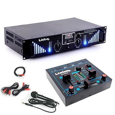 sistema de expansión PA 3000W USB SD MP3 Bluetooth Amplificador de mezcla de DJ Add-