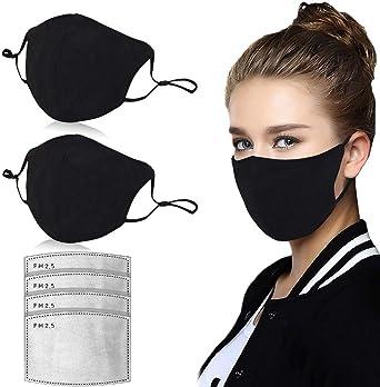 Oferta amazon: JXQ-N 2 Pcs Negro algodón de tela antipolvo transpirable con 4 piezas de filtro de carbón activado