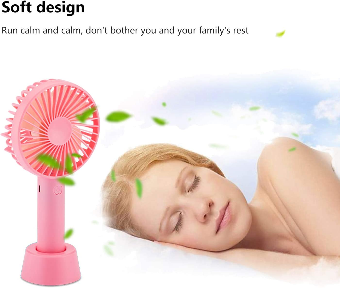 Baokai Mini Handheld Fan Portable Desk Table Fan 3 Speeds Adjustable Low Noise Cooling USB Rechargeable Battery Personal Small Fresh Fan with Removable Base for Home Office Outdoor Travel