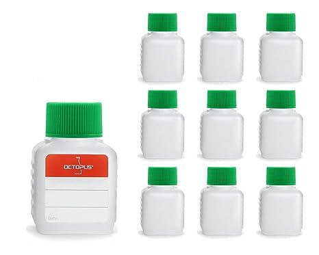 10 botellas de plástico de Octopus de 50 ml, botellas de plástico de HDPE con verde ...