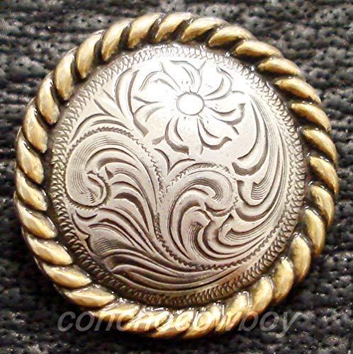 ShopForAllYou Conchos Western Horse Saddle Horn Cap Antique Gold Round Rope Edge Concho 2-3/8