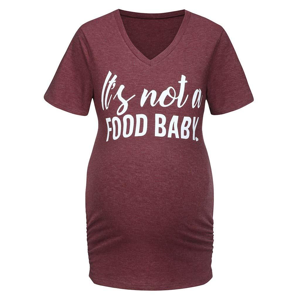 Dsood Pregnancy Shirt Announcement Women,Women's Maternity Short Sleeves Letter Print Tops Pregnancy T-Shirt Clothes,Sports Fan Shop,Blue,XL