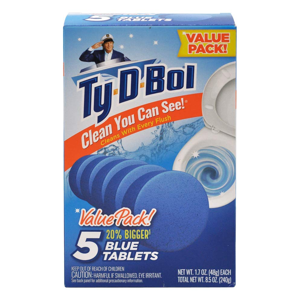 Ty-D-Bol Blue Tablets Value 5 Pack, Cleans and Deodorizer Toilets for a Fresh Smelling Bathroom (Pack of 10) by Ty-D-Bol