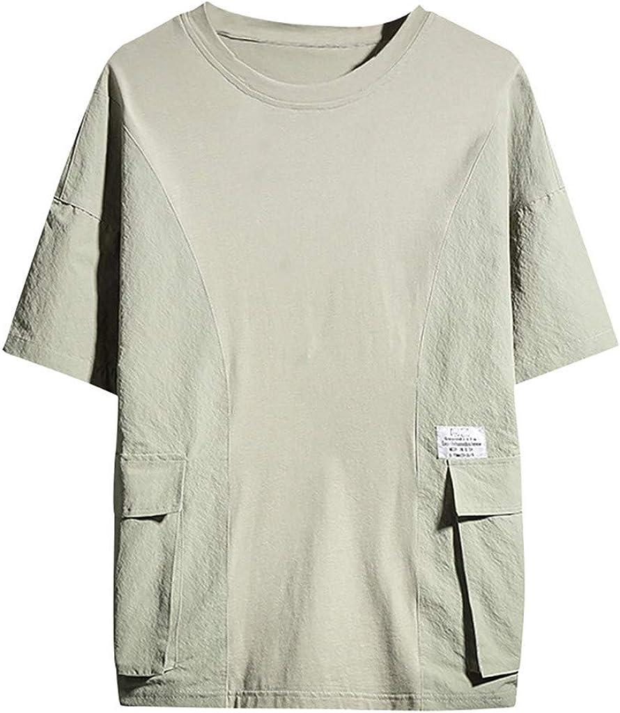 Dorical - Camiseta de Manga Corta para Hombre con Cuello Redondo, Manga Corta Verde L: Amazon.es: Ropa y accesorios
