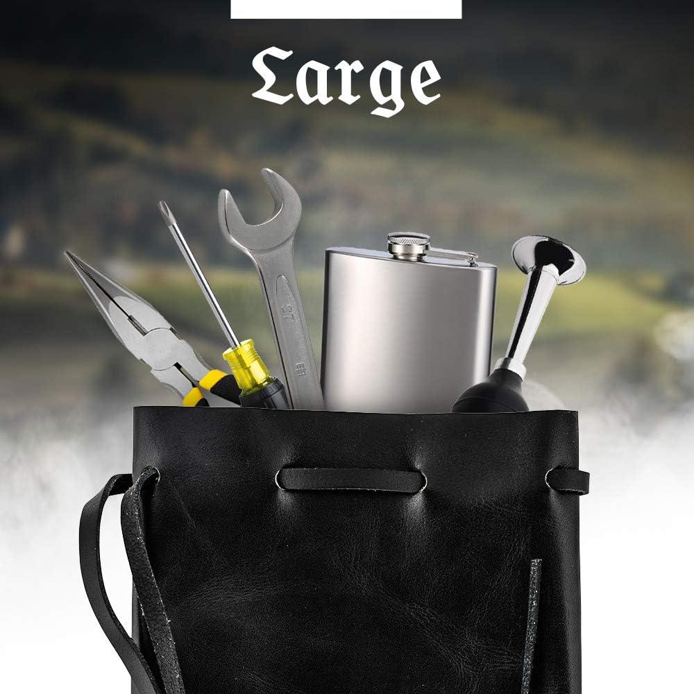 Medium Nabob Leather Sac /à monnaie en cuir avec cordon de serrage sac /à tabac M/édicaments m/édi/évaux Marron