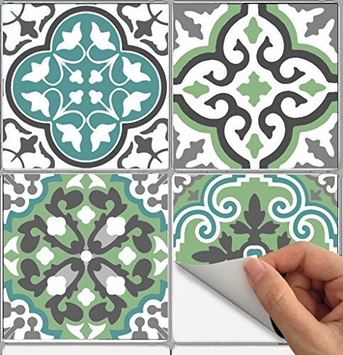 Tile Stickers Barcelona 40pc 6x6in Peel and Stick for kitchen and bath Bmix3G-6 40pcs by SnazzyDecal