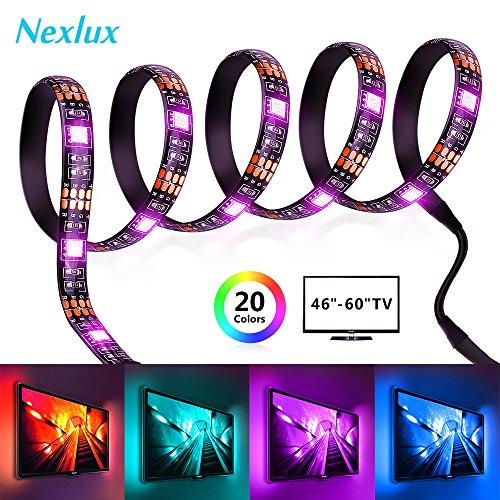 TV Backlight, Nexlux 9.8ft 5V Single Light Strip TV LED Light 5050 Multicolor Back Lighting Strip (No Remote)