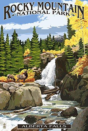 Alberta Falls - Rocky Mountain National Park (12x18 Art Print, Wall Decor Travel Poster) (Rocky Mountain Paper)
