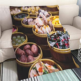 BEICICI Comforter Multicolor Bed or Couch Astronaut Standing on The Beach Looking at Planets Fashion Ultra Cozy Flannel Blanket