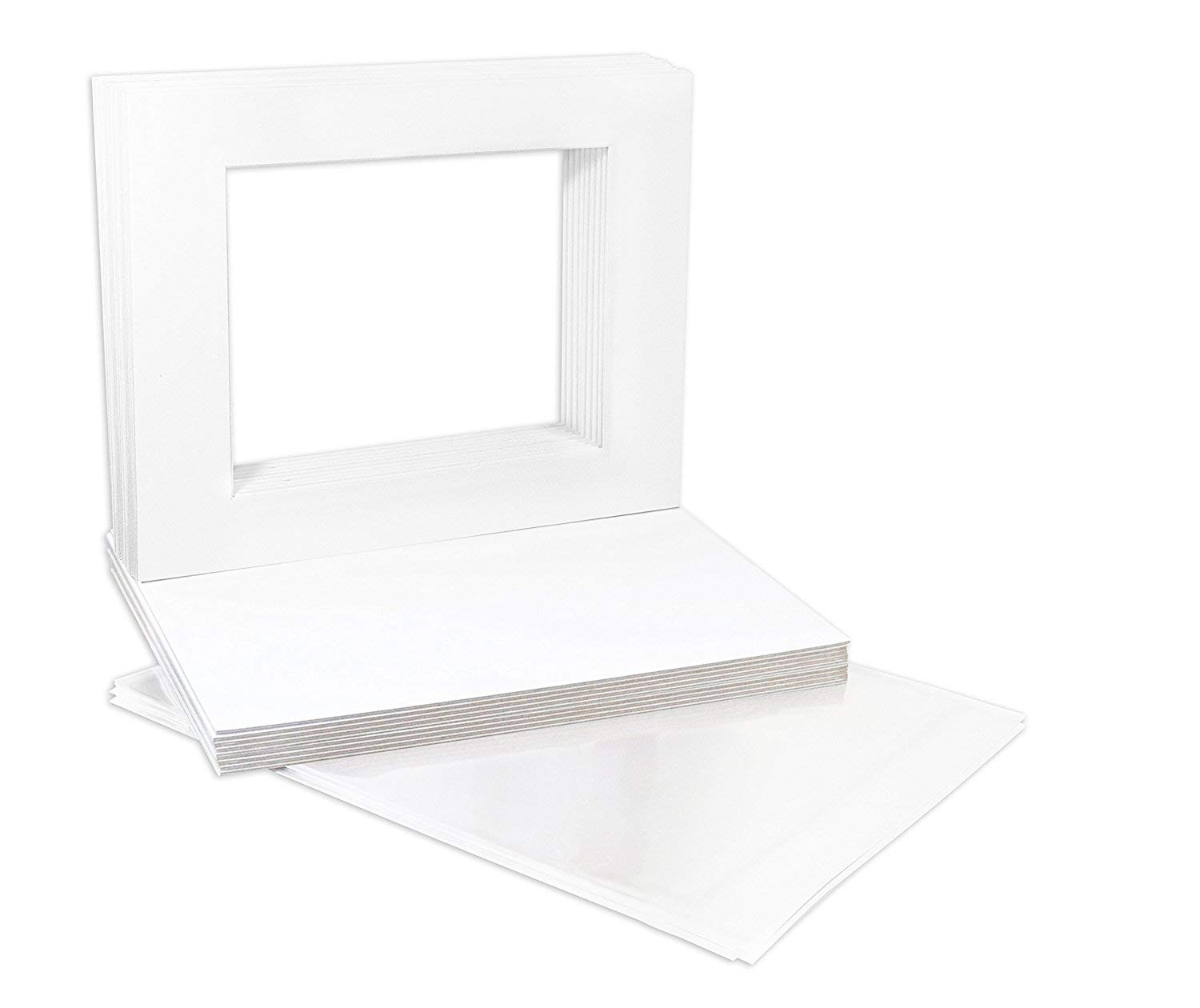 Studio 500, USA A1 BRAND, Acid-Free Pre-Cut 11x14 Ivory Picture Mat Sets; Pack of 25 Ivory Core Bevel Cut Mattes for 8x10 Photos, Pack of 25 Backers & Pack of 25 Crystal Clear Plastic Sleeves Bags