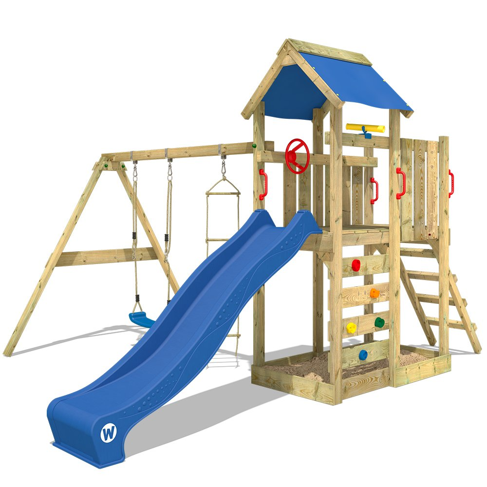 WICKEY Aire de jeux MultiFlyer Portique de jeux en bois Tour d'escalade avec balançoire, toboggan bleu, mur d'escalade, échelle de cordes, bac à sable + Accessoires product image