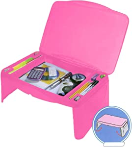 Folding Lap Desk, Laptop Desk, Breakfast Table, Bed Table, Serving Tray - The lapdesk Contains Extra Storage Space and dividers & Folds Very Easy, Great for Kids, Adults, Boys, Girls, Pink