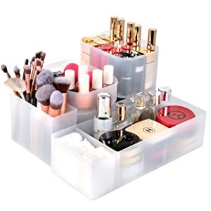 Syntus Bathroom Drawer Organizer, 5 Pieces Makeup Organizer with Different Size, Adjustable Dividers Customizable Trays Office Desk Storage for Cosmetics, Bathroom, Kitchen Utensils, Jewelries and Gad