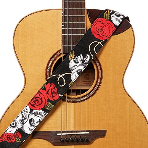 Amumu Skull Rose Guitar Strap Red Denim for Acoustic, Electric and Bass Guitars with Strap Blocks & Headstock Strap Tie - 2