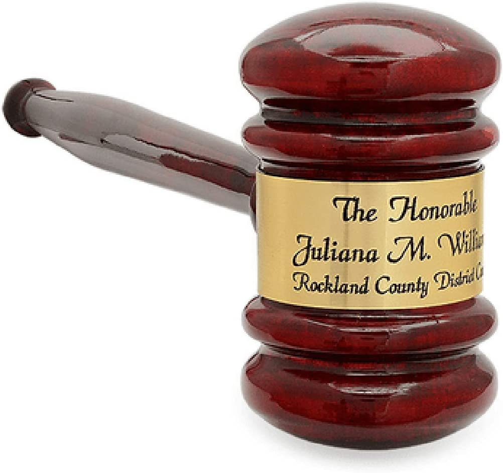 Personalized Rosewood Gavel with Gold Band Executive Gift Shoppe