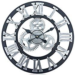 17.7 Inches Over-sized 3d Wall Clock, Silent Gear Wall Clock, Retro Rustic Large Wall Clock Decorative, Noiseless Big Wall Clock Vintage Antique Distressed Art Roman Numerals Design (Sliver Gray)