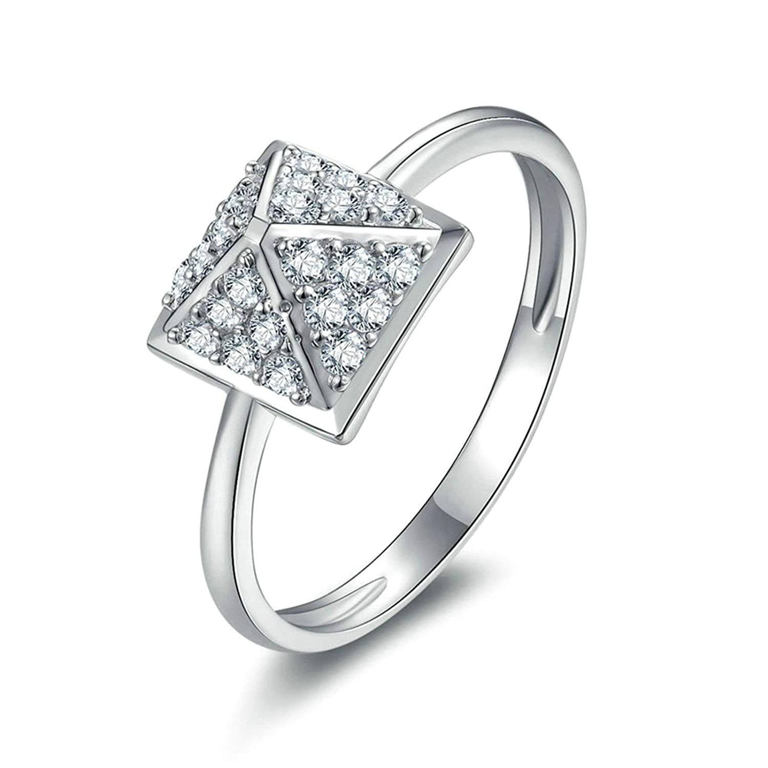 2ad27c2f03525 Amazon.com: Aooaz Ring for Wedding Silver Material Ring Stone Square ...