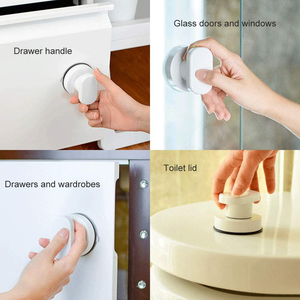 Kitchen-dream Suction Cup Handle, 2PCS Suction Cup Pulls Handle Drawer Cupboard Cabinet Fridge Door Glass Portable Mobility Handle Knobs with Strong Suction Cup for Bathroom White