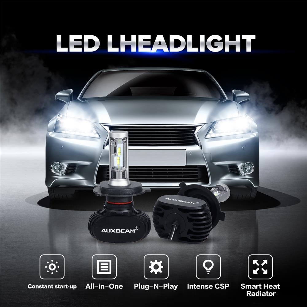 Auxbeam Led Headlight Bulbs Nf S1 Series Headlights Exciting Scout Crafts 1 Or 2 Headlamp With Pcs Of H4 9003 Hb2 P43t Philips Csp Conversion Kit 50w 8000lm 6000k