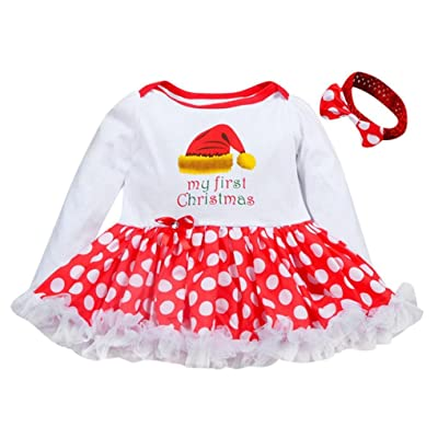 SUNBIBE 0-18 Months Infant Baby Girl Romper Tutu Dress+Headband Christmas Outfits Clothes