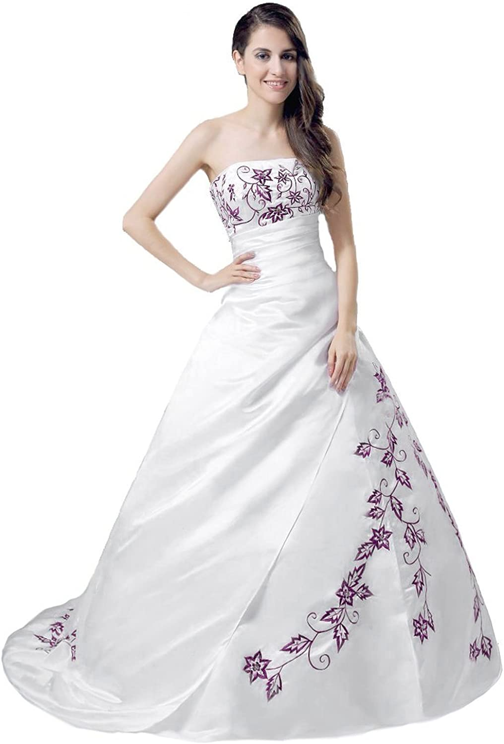 Kmformals Womens Embroidery Satin Wedding Dress