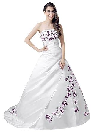 Kmformals Damen Trägerlos Weiß Rot Hochzeitskleid Brautkleid: Amazon ...