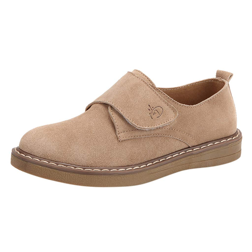 【MOHOLL】 Round Toe Ballet Flat Slip On Shoes Suede Jobs Single Shoes Leisure Leather Shoes Khaki