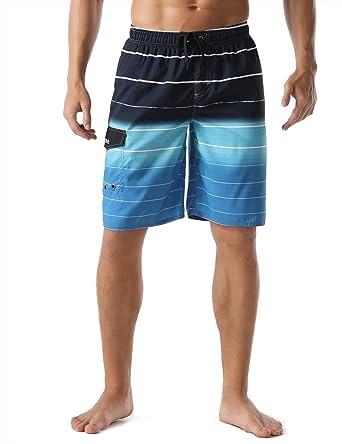 NSYUR Mens Glare Stripes Summer Holiday Quick-Drying Swim Trunks Beach Shorts Board Shorts