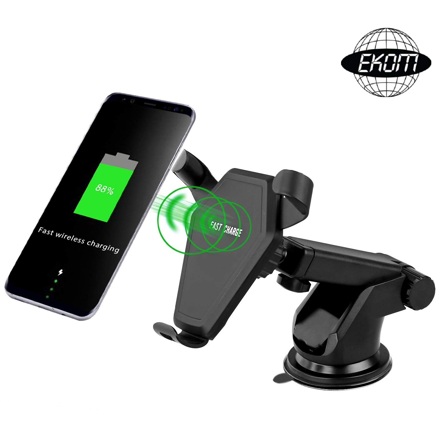 Wireless Car Charger, 10 W Fast Charging, Air Vent and Suction Mount, Compatible with iPhone X / 8/8 Plus, Compatible with Samsung Galaxy S6/ Edge S7 / S8 / S8 Plus, Note 5/8/9, Qi Enabled