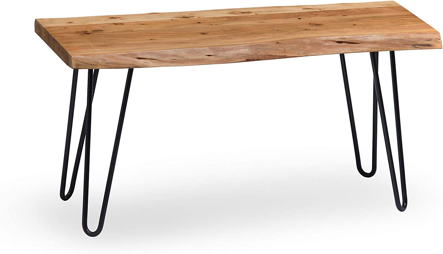 "Alaterre Furniture Hairpin Natural Live Edge Wood with Metal 36"" Bench"