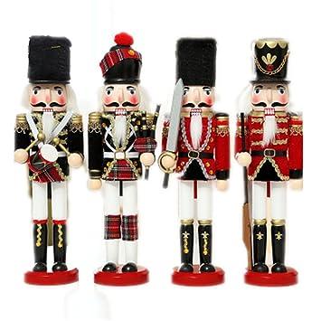 Juego de 4 cascanueces de Inglaterra estilo Escocia para regalo de Navidad, regalos de vacaciones, 30,5 cm de alto, madera, 2 England Soldiers: Amazon.es: ...