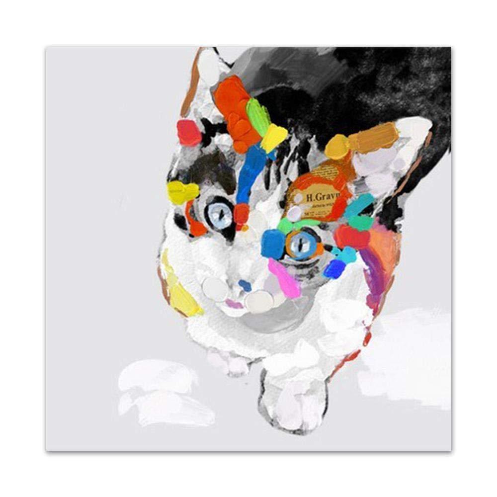 WJY Lindo Gato Mascota Pintado a Mano Pintura al óleo Animal Hogar ...