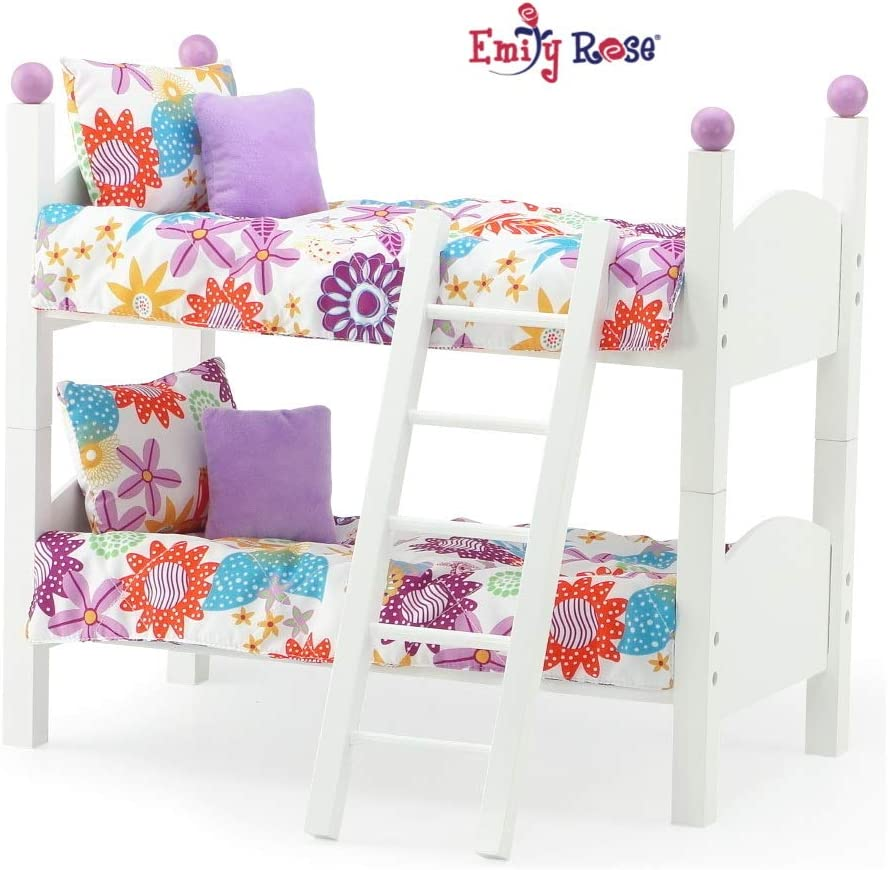 """Emily Rose 14 Inch Doll Furniture Bed  2 Single Stackable 14"""" Doll Beds   Doll Bunk Bed, Includes 2 Sets of Colorful 4 Piece Doll Bedding Sets & Ladder   Fits 14"""" Wellie Wishers and Glitter Girl"""